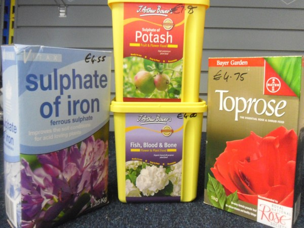 Sulphate of Iron, Fish Blood & Bone, Sulphate of Potash & Toprose from Dunwiley Nurseries & Garden Centre, Stranorlar, Donegal